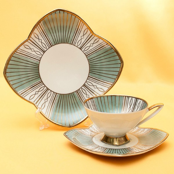 Коллекционная Чайная пара+Тарелка (Тройка) Фарфор Германия - ALKA KUNST/KAISER - 50-е гг.