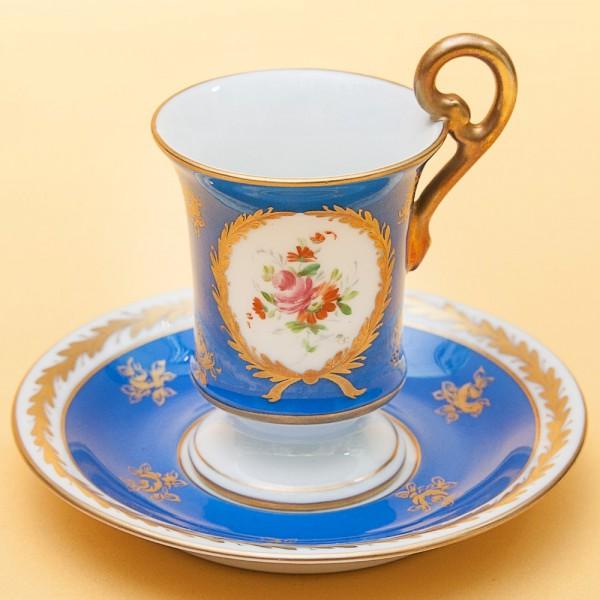 Коллекционная кофейная пара Фарфор Лимож Limoges Франция - 1920-1940 годы.