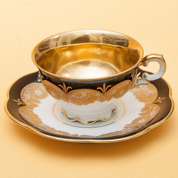 Коллекционная кофейная пара «Золотое кружево» Фарфор Hutschenreuther (Хучеройтер), Германия, 1939-1945 годы.
