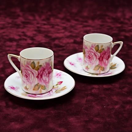Две Кофейные Пары №10 «Розовые Розы» Фарфор Япония