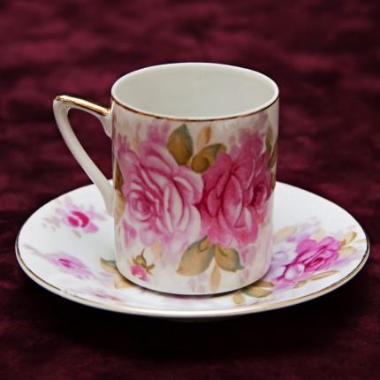 Кофейная Пара №9 «Розовые Розы» Фарфор Япония