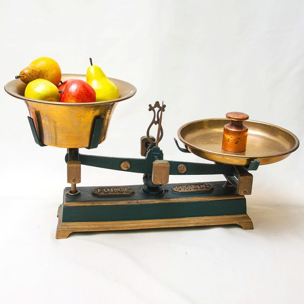 Большие Кухонные весы с двумя латунными чашами FОRCE на 5кг. Франция начало ХХ века!