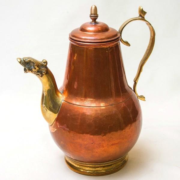 Большой Медный Кофейник - Чайник на 3 литра, Франция середина ХХ века.