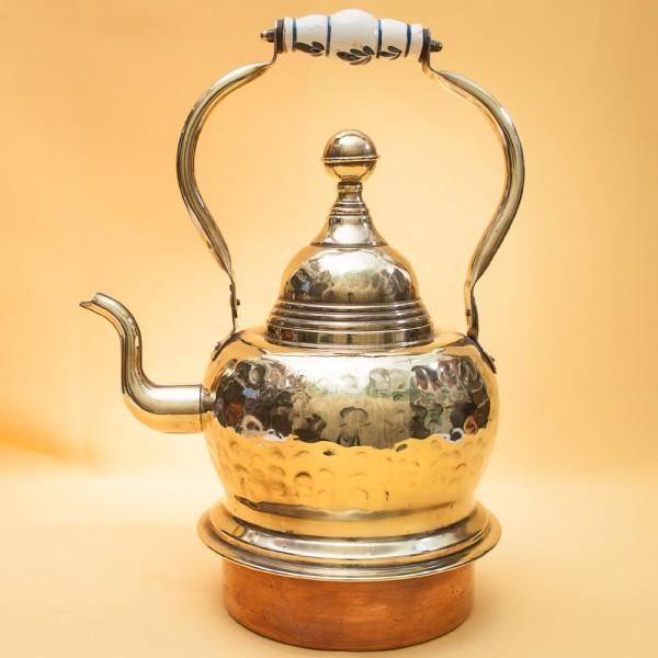 Большой Медно-Латунный «Печной» Чайник с фарфоровой ручкой на 5 литров. Голландия.
