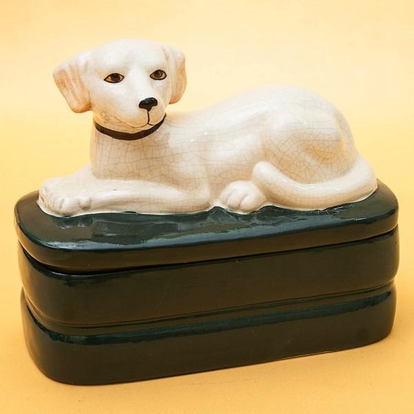 Редкость!  Фаянсовая Шкатулка - Бонбоньерка  «Собака - Верный страж» в стиле АРТ- ДЕКО, Англия.