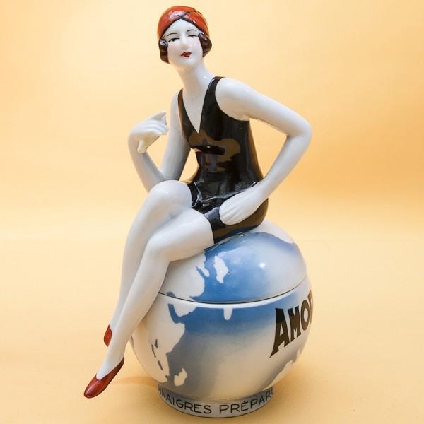 Редкость! «Хозяйка Мира» - Фарфоровая Шкатулка в стиле АРТ- ДЕКО, LUX, Бельгия.