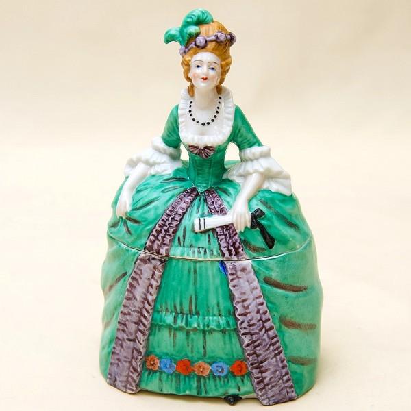 Редкость!!! Фарфоровая Шкатулка - Статуэтка «Дама в зеленом платье». SITZENDORF Германия