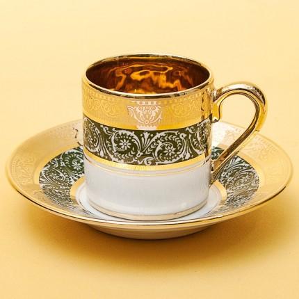 Коллекционная Кофейная Пара «L'héritage des Rois - Vert» Фарфор Лимож Limoges Франция