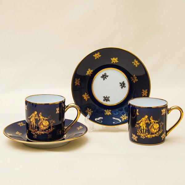 Две Коллекционные Кофейные Пары «Дама с Кавалером» Фарфор, Limoges, Франция 60-е годы ХХ века.
