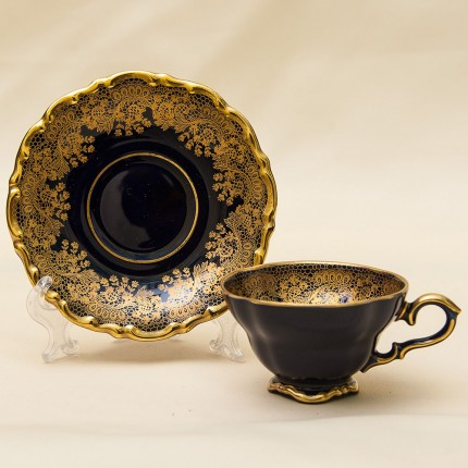 Коллекционная Кофейная Пара «Золотое Кружево» Фарфор Германия LINDNER Kueps -60гг.