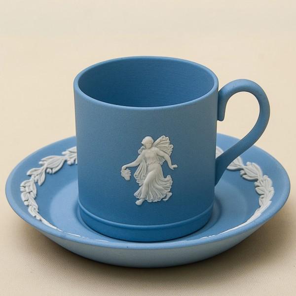 Коллекционная Кофейная пара «Голубой Антик» фарфор ВЕДЖВУД, WEGDWOOD, Англия -70гг.