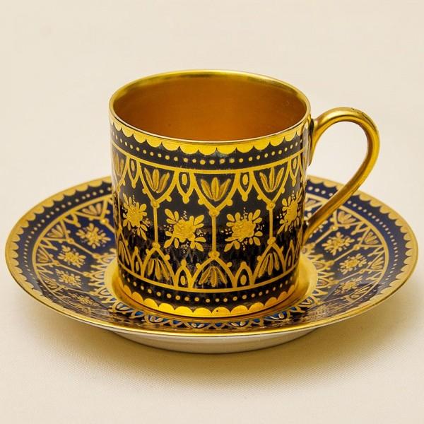 Редкость! Кофейная Пара «Королевское Золото» Фарфор Limoges Франция 1894 -1910 годы.