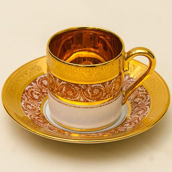 Коллекционная Кофейная Пара «L'héritage des Rois - Gold» Фарфор Лимож Limoges Франция