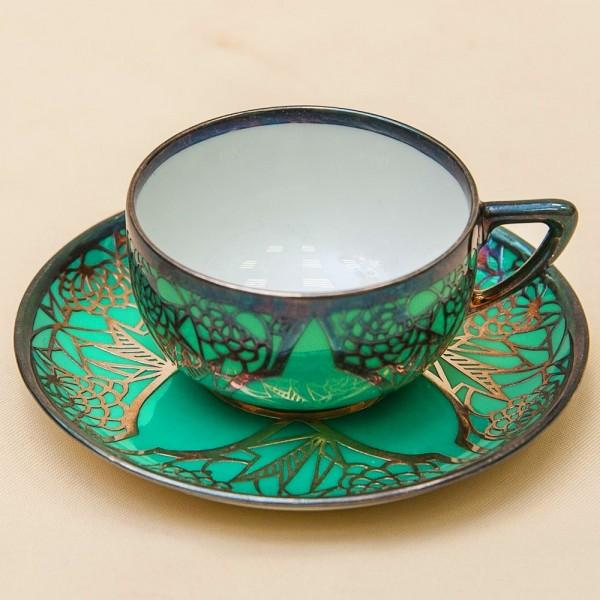 Редкая! Коллекционная Кофейная Пара «Изумрудное Серебро» Фарфор Rosenthal, Германия -1927год.