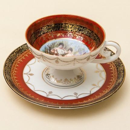 Коллекционная Кофейная Пара «Музыкальное трио» Фарфор, Германия 1900 - 1937 годы.