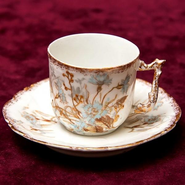 Антикварная Коллекционная кофейная пара «Васильки» Фарфор Лимож Limoges Франция -1894-1902 г.