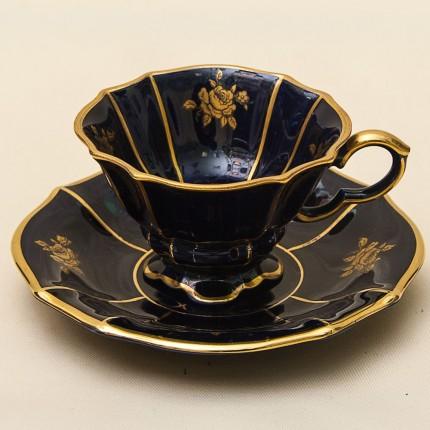 Коллекционная Кофейная Пара «Золотая Роза» Фарфор Германия LINDNER Kueps -60гг.