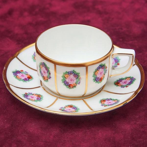 Винтаж!! Антикварная Коллекционная Кофейная пара, Фарфор Thomas, Германия 1908 - 1939 годы.