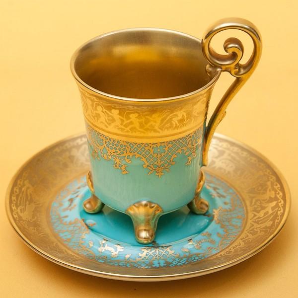 Коллекционная кофейная пара «Бирюзовое Золото» Фарфор DW PORZELLAN, Германия.