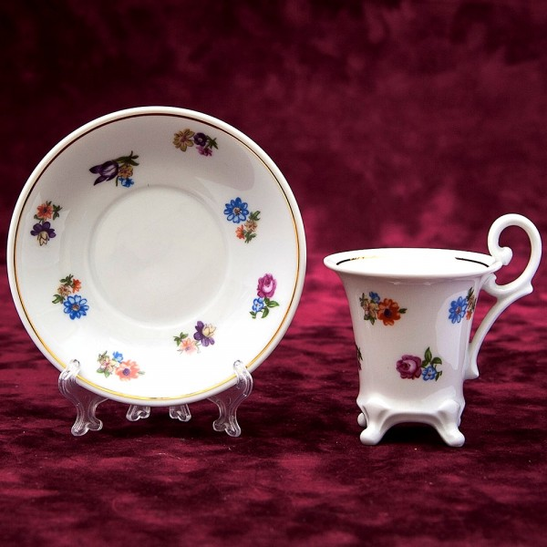 Коллекционная Кофейная Пара «Цветочная Свежесть» Фарфор Германия WEIMAR Porzellan -1980 год.
