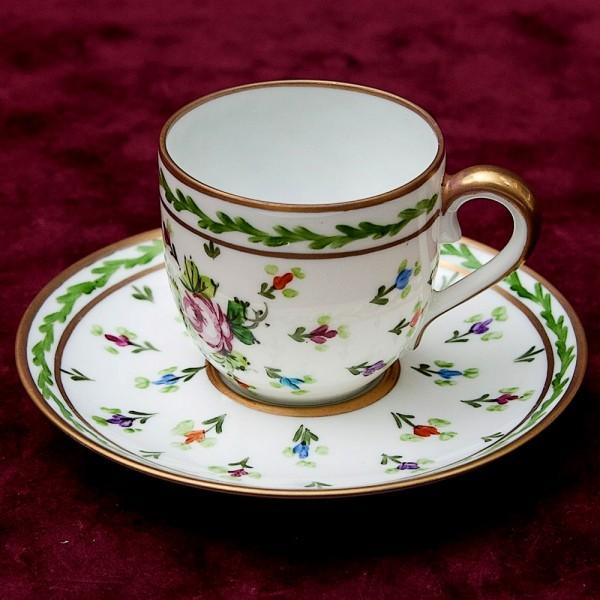 Коллекционная Кофейная Пара, Фарфор, Ручная Роспись, Лимож Limoges - Dumont Франция.