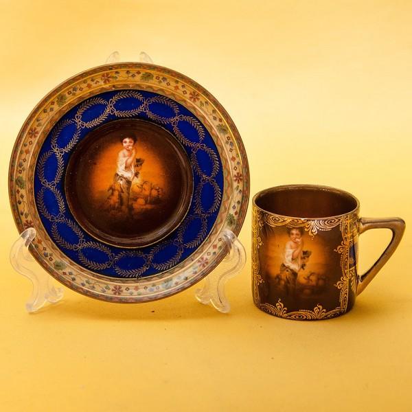 Редкость!!! Коллекционная Кофейная Пара Фарфор Fredric Simon Karlsbad 1918-1930 годы.