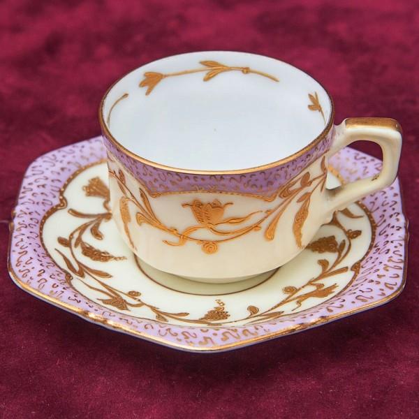 Редкая!! Антикварная Коллекционная Кофейная пара, Фарфор Hermann Ohme, Германия 1900 - 1920 годы.