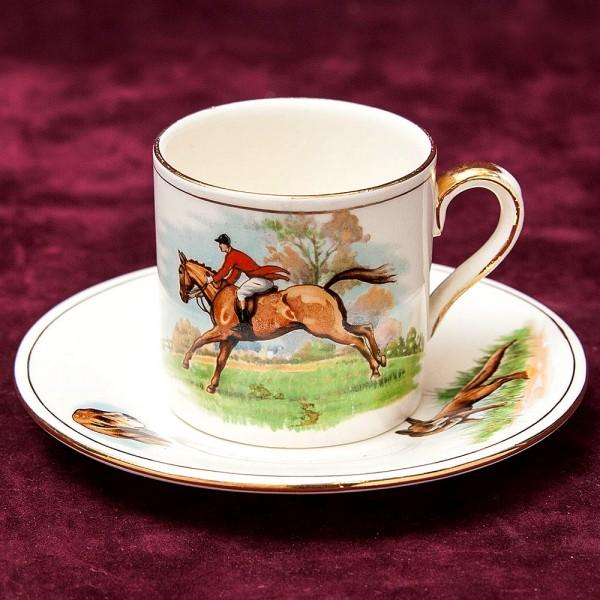 Коллекционная Кофейная Пара «ОХОТА НА ЛИС» Фарфор Royal WINTON, Англия 50-е годы ХХ века.