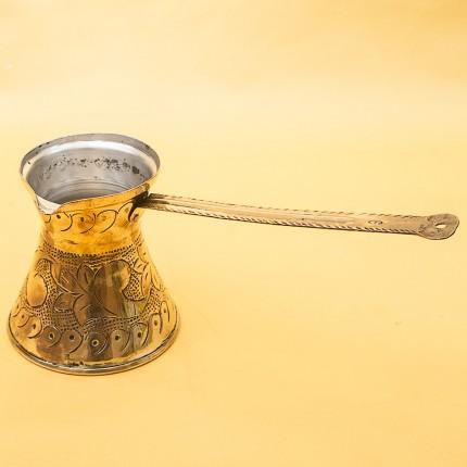 Винтажная Латунная Турка - Джезва для варки кофе с фигурной ручкой на 300 мл. Италия ХХ век.