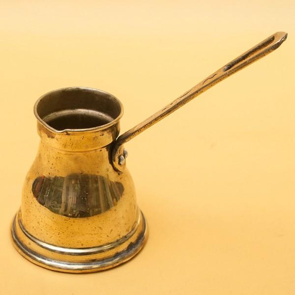 Винтажная Латунная Турка - Джезва для варки кофе с фигурной ручкой на 250 мл. Италия ХХ век.