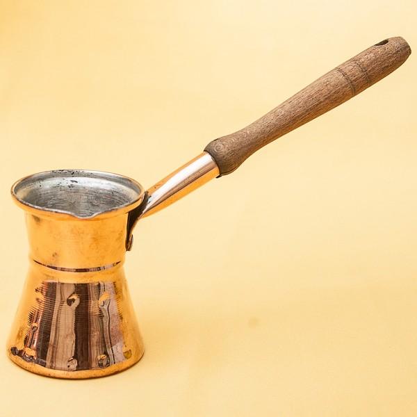 Винтажная Медная Турка - Джезва для варки кофе с деревянной ручкой на 100 мл. Греция ХХ век.