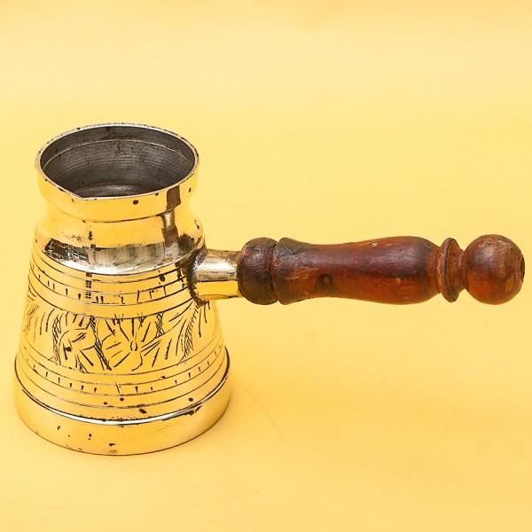 Винтажная Латунная Турка - Джезва для варки кофе с деревянной ручкой на 200 мл. Греция ХХ век.