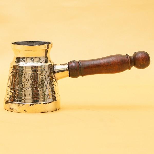 Винтажная Латунная Турка - Джезва для варки кофе с деревянной ручкой на 150 мл. Греция ХХ век.