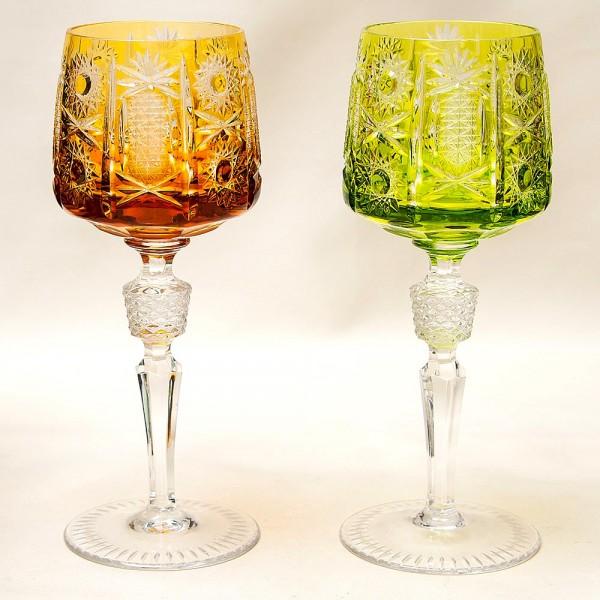 Два Бокала «Тет-а-Тет» из Цветного Хрусталя, серия «Crystal Diamonds» JOSKA BODENMAIS Германия, 70-е гг.