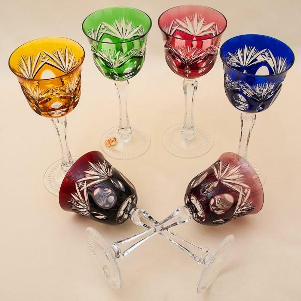 Шесть Бокалов для вина из Цветного Хрусталя серия «Der große Salut», NACHTMANN Германия, 70 -е годы.