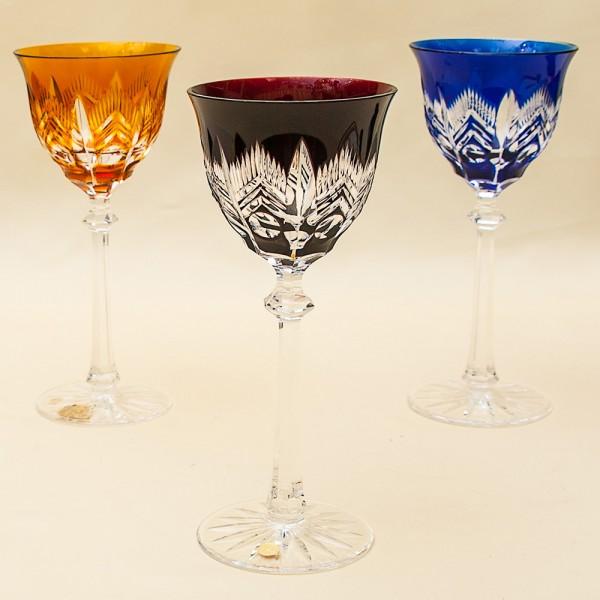 Три Бокала для вина серия «ARCTIС» Цветной Хрусталь, JOSEPHINENHUTE, Германия, 60гг.