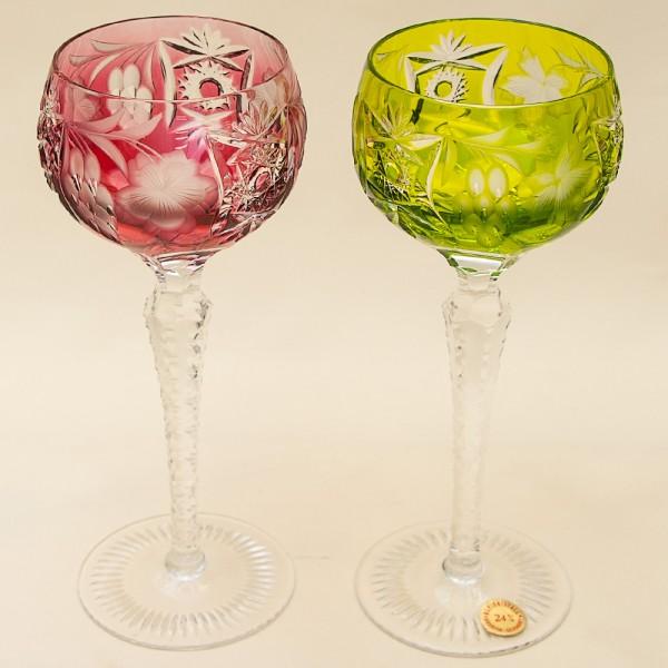 Пара Бокалов серия «Виноград» из Цветного Хрусталя, NACHTMANN Германия, 60 -е годы ХХ века.