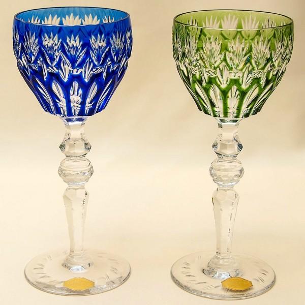 Два Бокала «Тет-а-Тет» из Цветного Хрусталя,  PEILL und PITZLER Германия, 50 -е годы ХХ века.