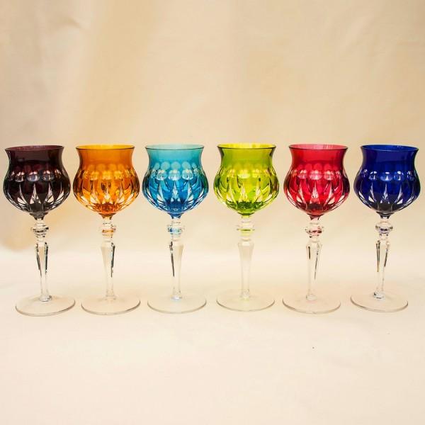 «МЕРИЛИН» - Шесть Бокалов из Цветного Хрусталя, NACHTMANN Германия, 60 -е годы ХХ века.