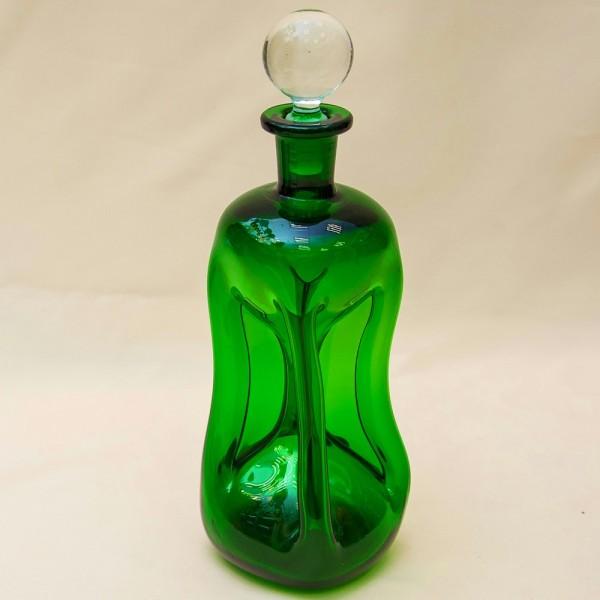 Винтажный Штоф - Графин «Kluk - Kluk» Зелёного Стекла - 0,5 л. Дания, 50 -е годы ХХ века.