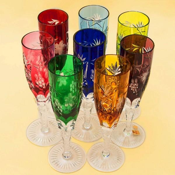 Полный Набор, все 8-мь Цветов! Бокалы для Шампанского серия «Виноград», Хрусталь NACHTMANN Германия.