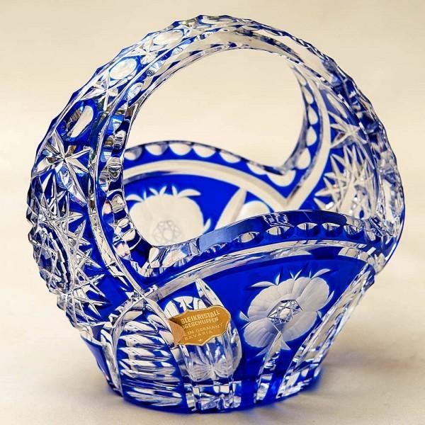 «Синяя Корзинка» - Ваза - Конфетница Цветной Хрусталь, NACHTMANN Германия, 70 -е гг.