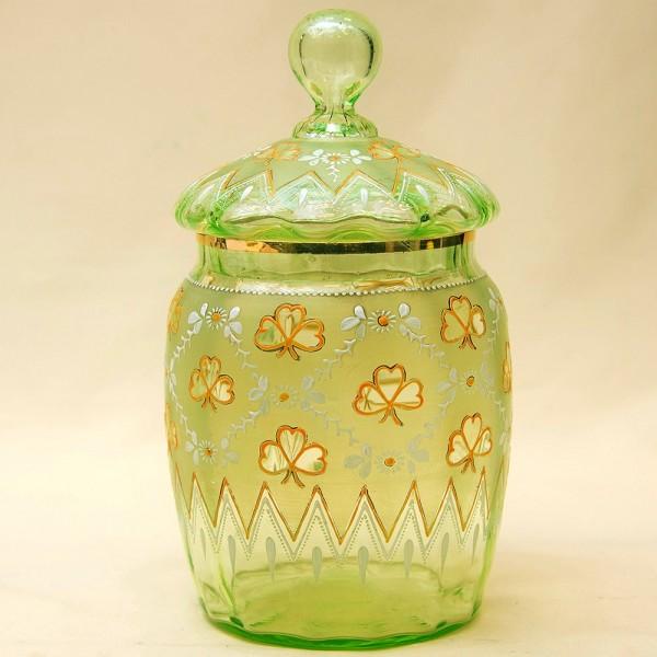«Весна» - Бисквитница - Сахарница - Баночка с крышкой, Стекло Англия 30-е годы ХХ века.
