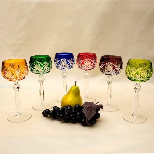 Шесть Бокалов для вина из Цветного Хрусталя серия «CARAT», NACHTMANN Германия, 70 -е годы.