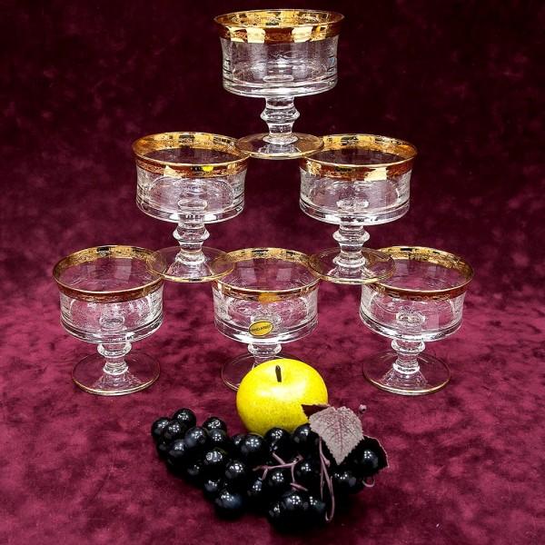 Набор из 6-ти Хрустальных Фужеров для Шампанского, Murano Италия, середина ХХ века.