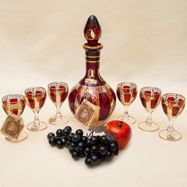 Набор Графин и 6-ть Рюмок «Рубиновый Хрусталь» , ERNST WITTIG, Германия середина ХХ века.