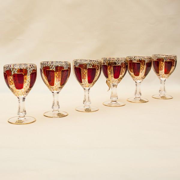 «Рубиновый Хрусталь» - Набор Бокалов для Вина, ERNST WITTIG, Германия середина ХХ века.