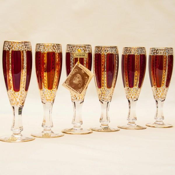 Набор Фужеров для Шампанского «Рубиновый Хрусталь» , ERNST WITTIG, Германия середина ХХ века.
