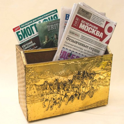 Винтажная «Газетница» - Ящик - Короб в Латунном окладе. Англия начало ХХ века.