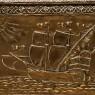 Старинный Деревянный Сундук «Бригантина» в Латунном окладе, Чеканка, Голландия первая половина ХХ века.